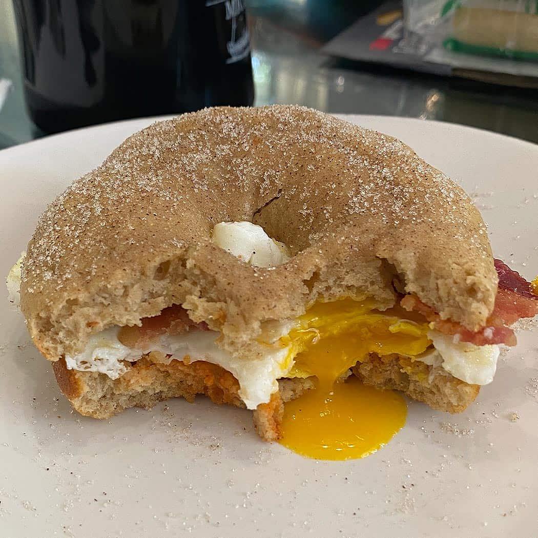 Cider donut breakfast sandwich