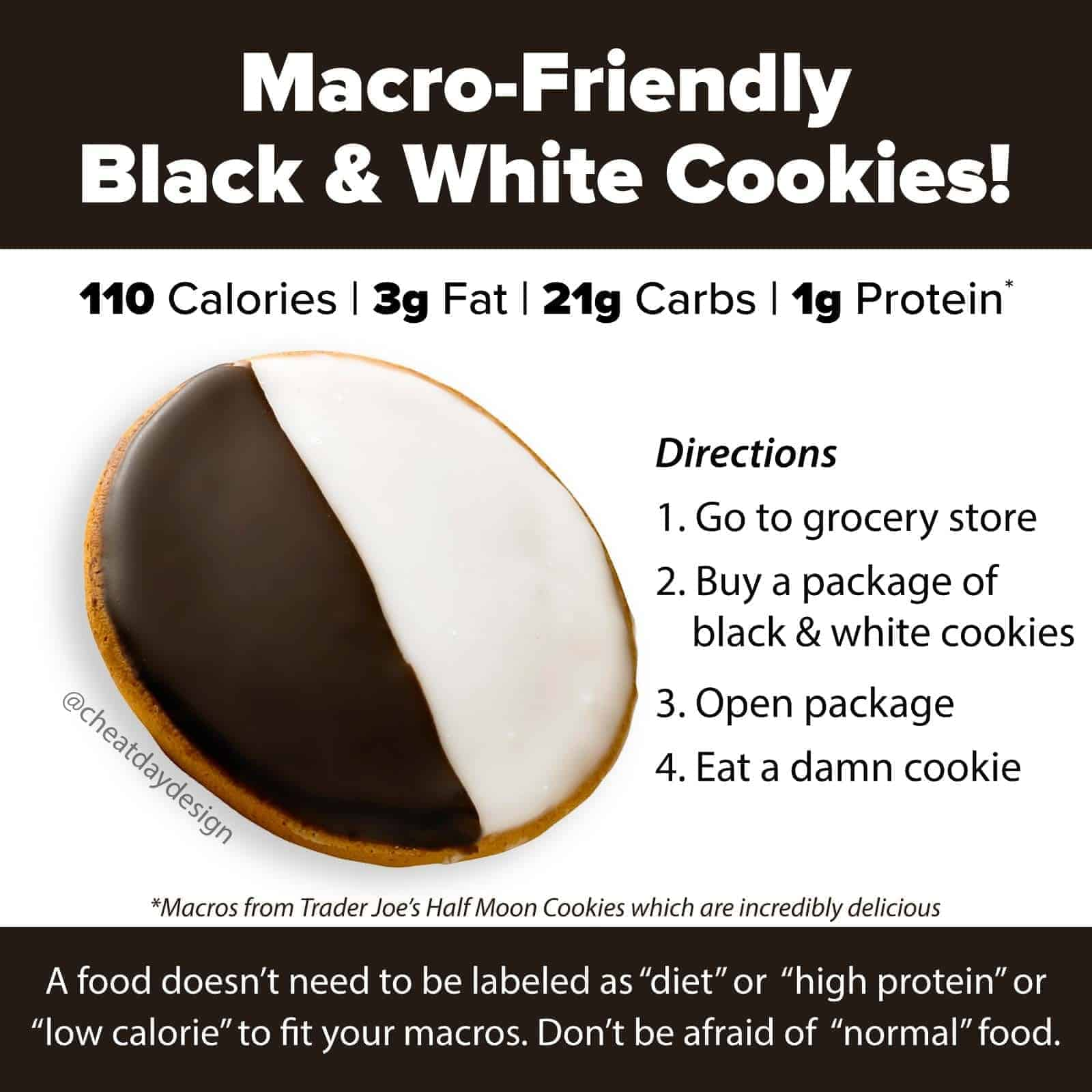 Macro-friendly black and white cookies