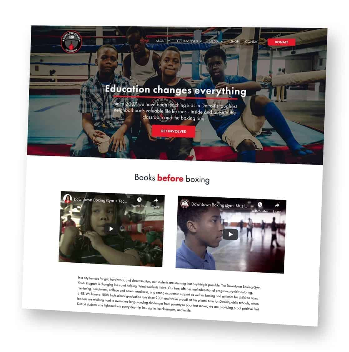 Downtown Boxing Gym Detroit Website mockup