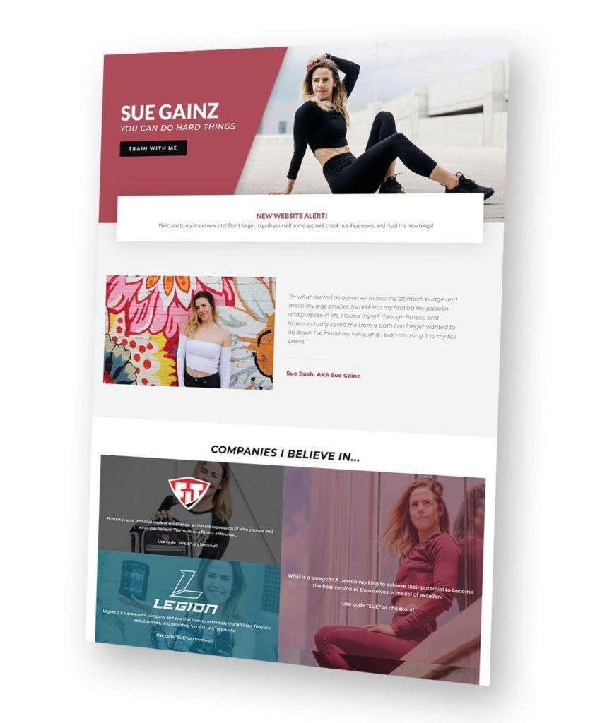 Sue Gainz website mock
