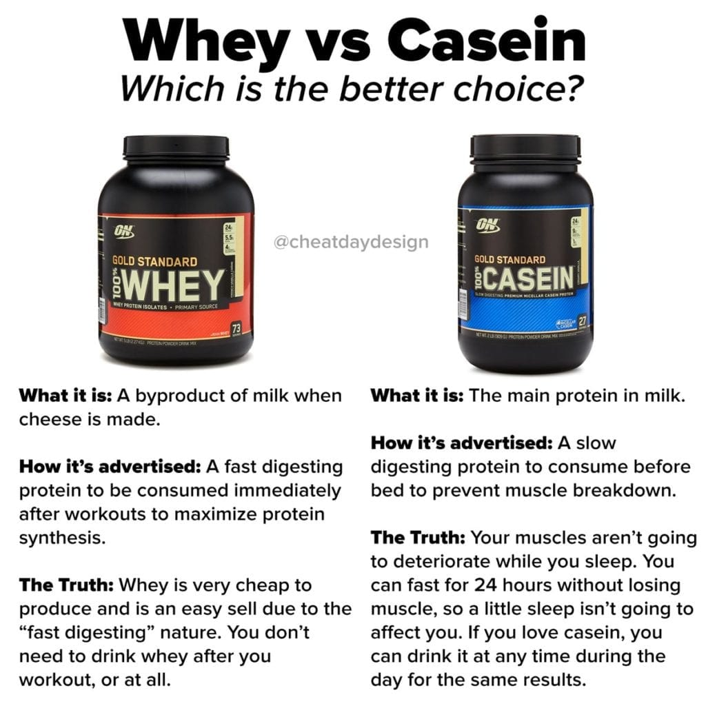 The difference between whey and casein protein powder