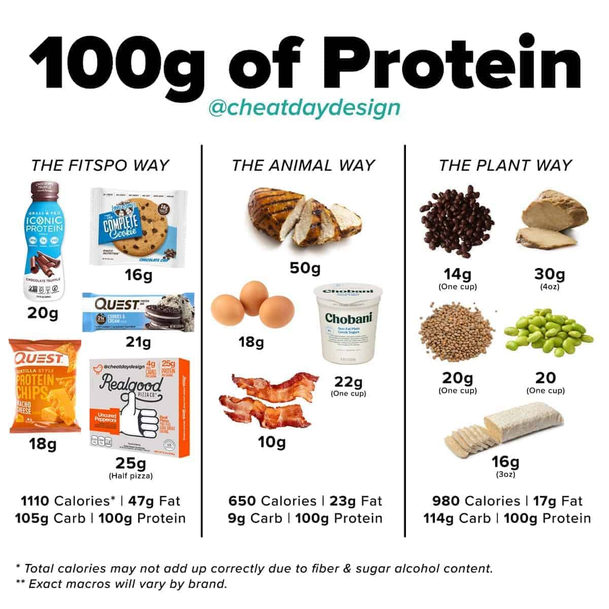 What 100 grams of protein looks like