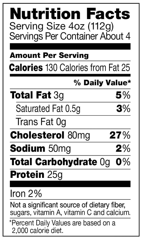 Raw chicken nutrition label