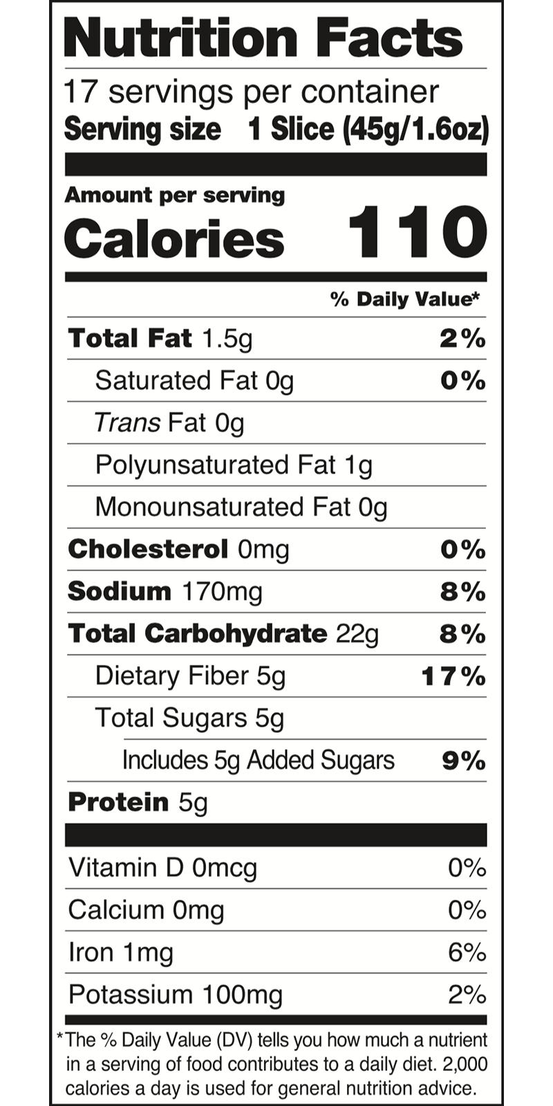 Dave's Killer Bread Nutrition