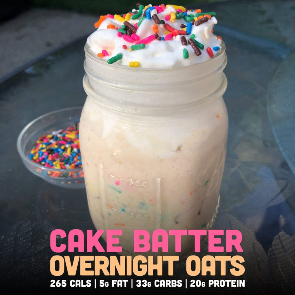 Cake batter overnight protein oats