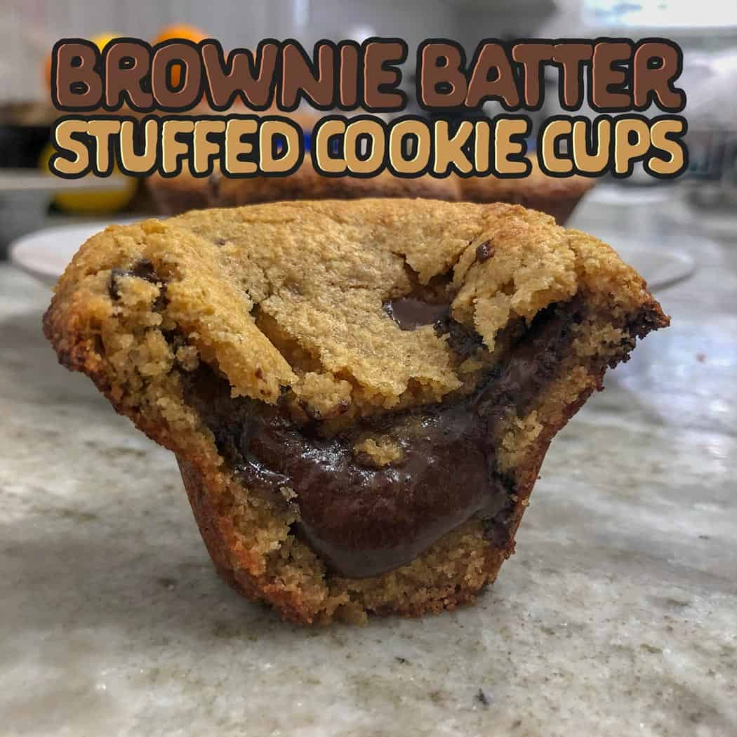 Brownie batter stuffed cookie cups