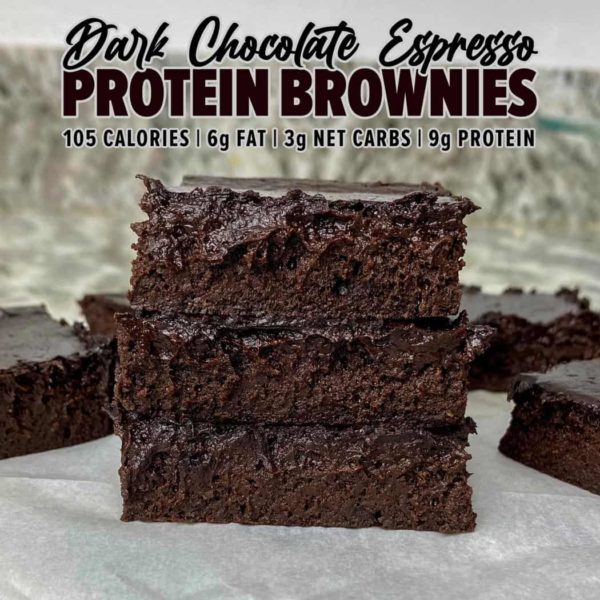 Dark Chocolate Espresso Protein Brownies