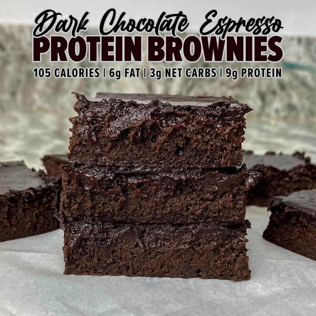 Dark Chocolate Espresso Protein Brownies