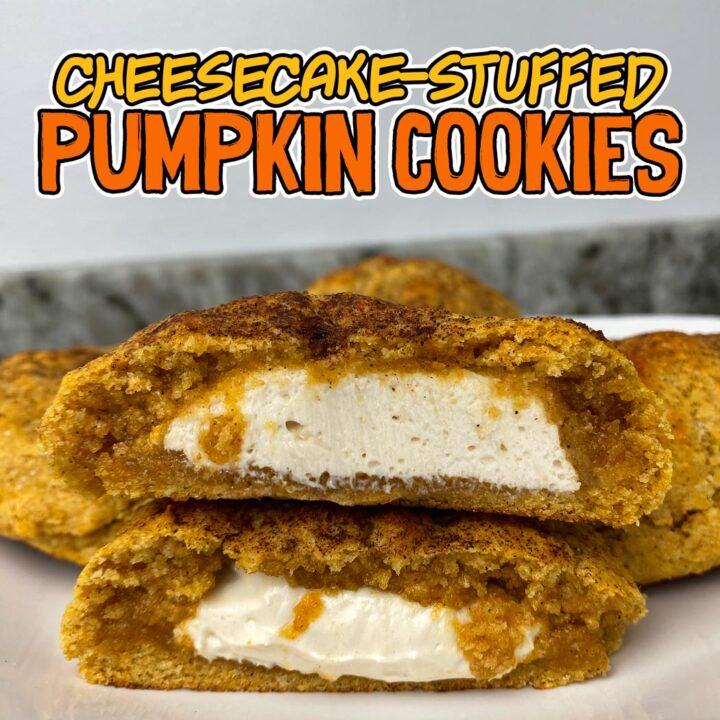 Pumpkin Cheesecake Stuffed Protein Cookies