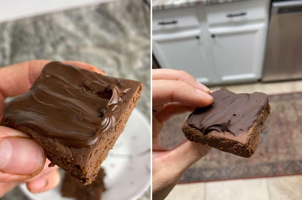 Vegan brownies with chocolate coating
