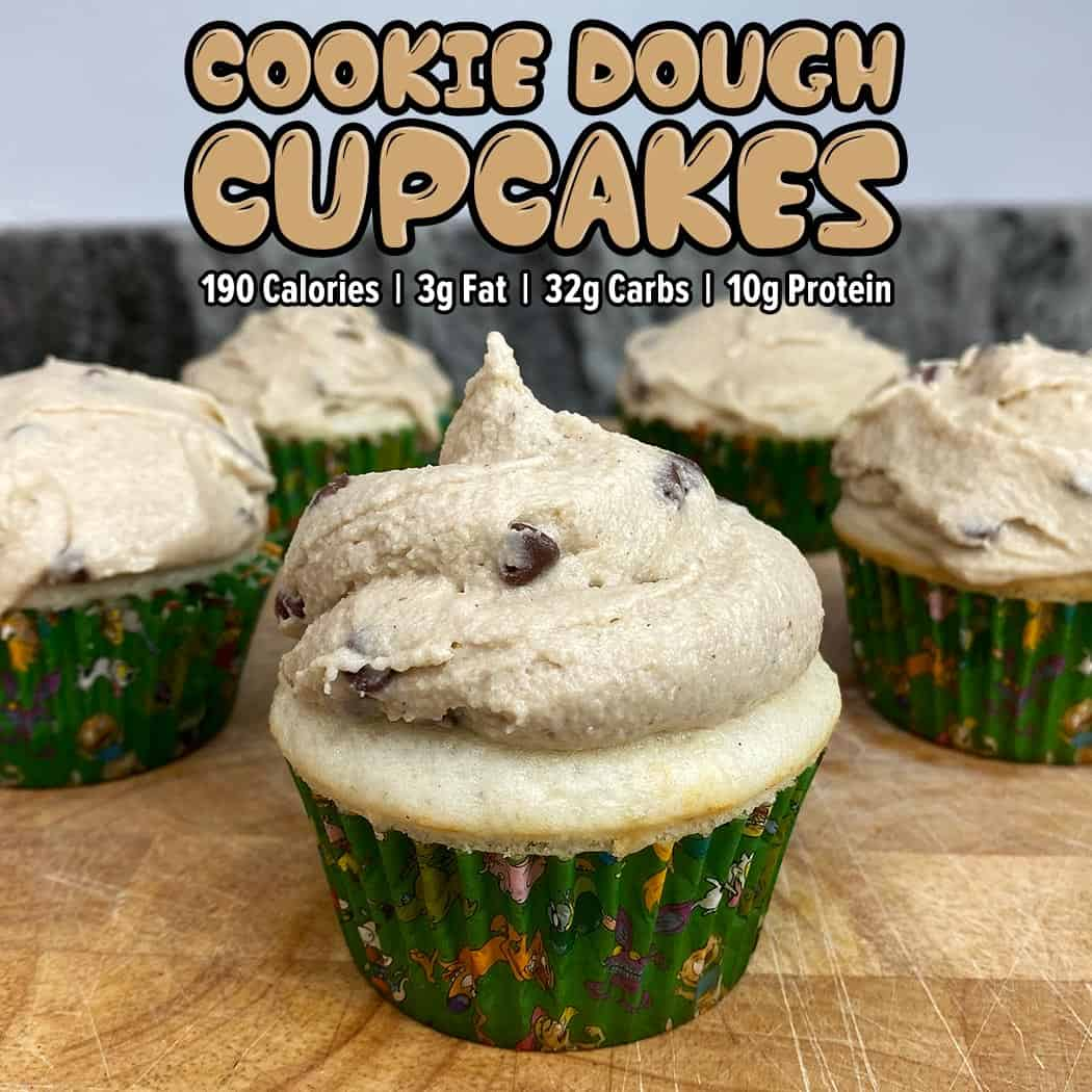 High protein Cookie Dough Cupcakes
