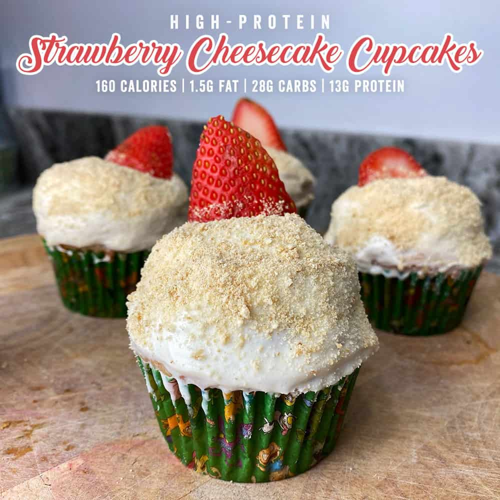 Protein Strawberry Cheesecake Cupcakes