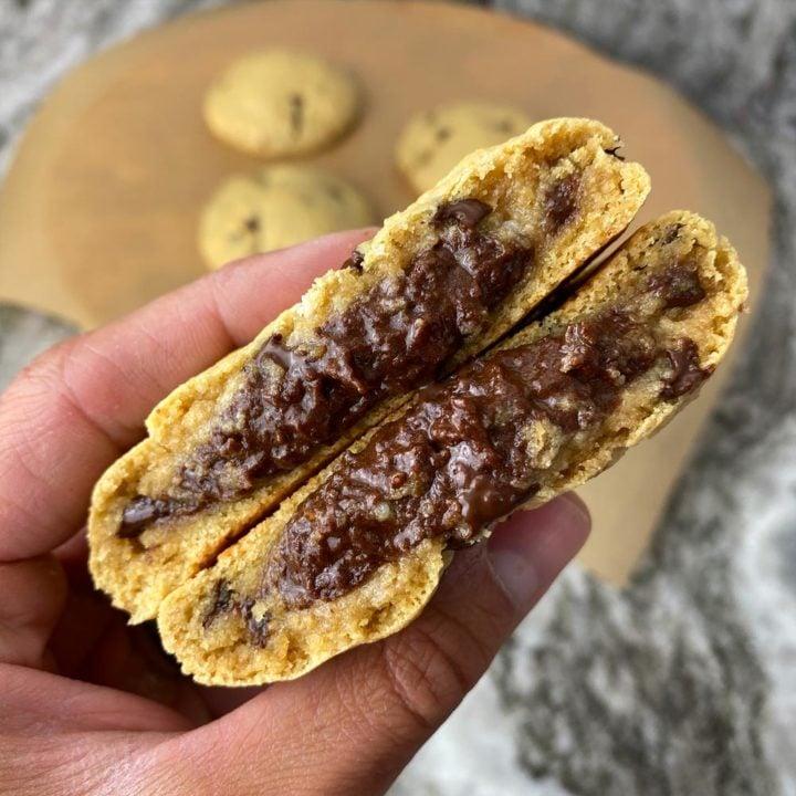 Brownie Batter Stuffed Protein Cookies