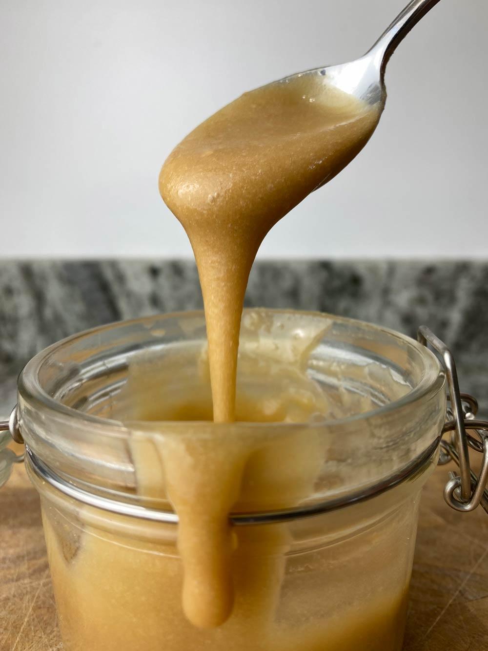 Closeup of protein caramel sauce