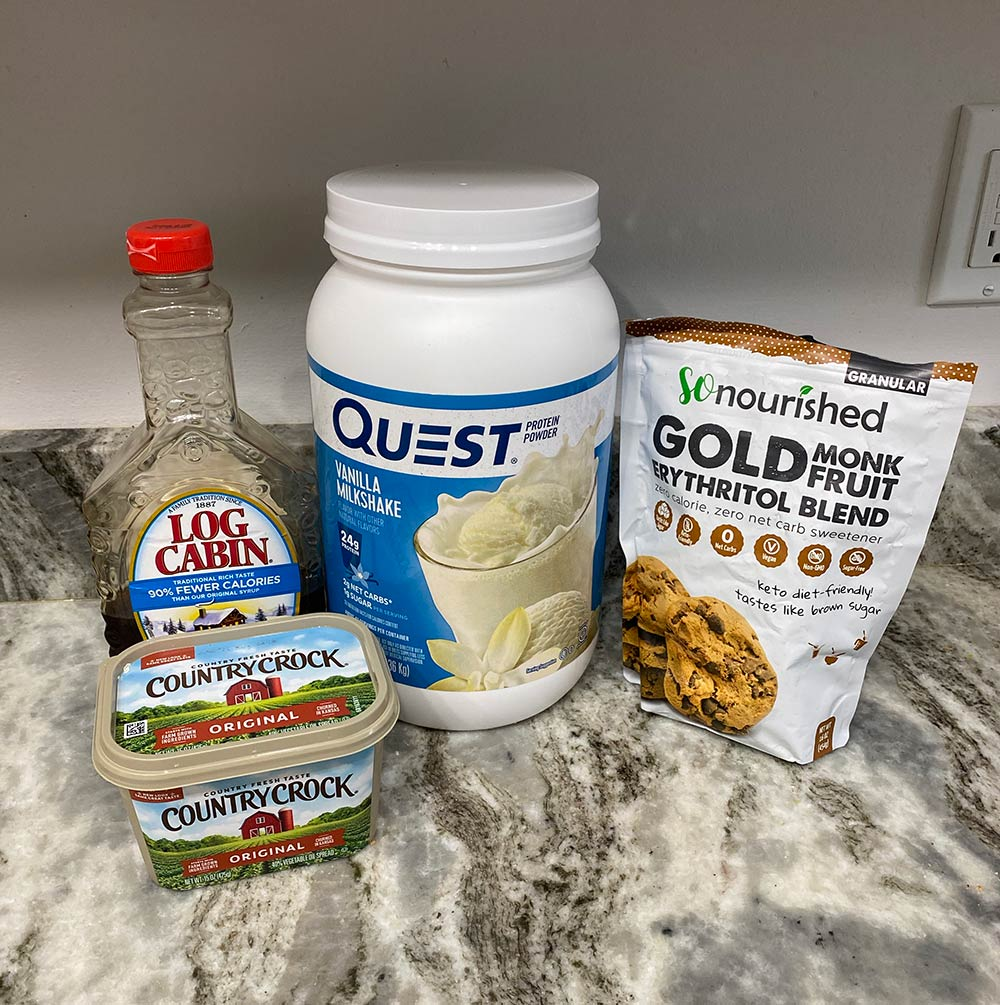 Ingredients for protein caramel sauce