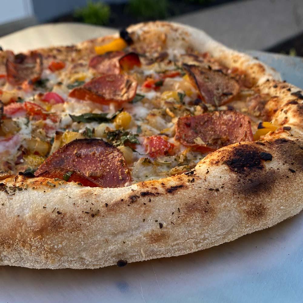 Sourdough pizza crust closeup
