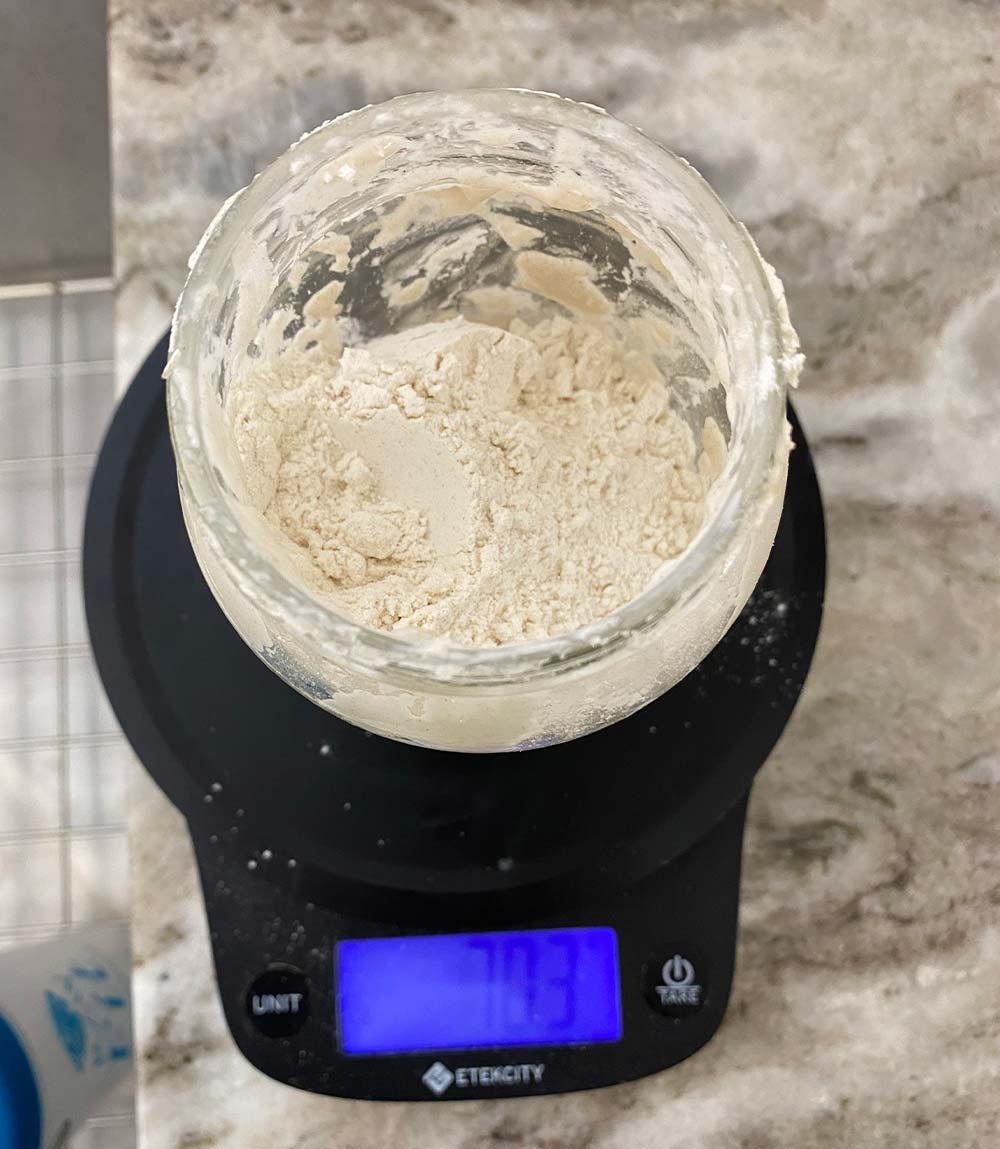 Dry ingredients in sourdough