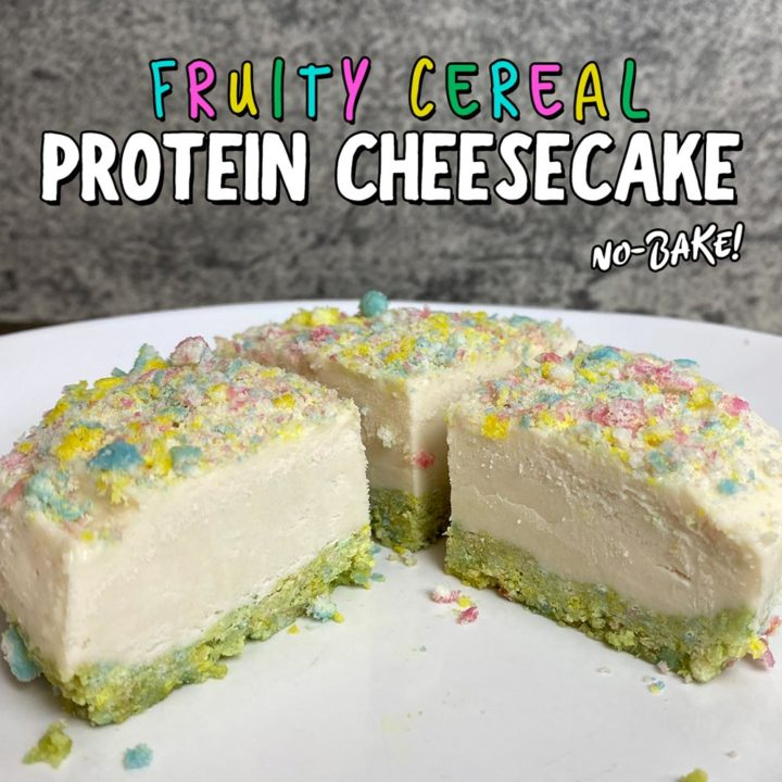 Fruity Cereal No-Bake Protein Cheesecake
