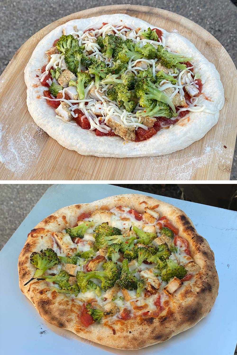 Before and after cooking pizza