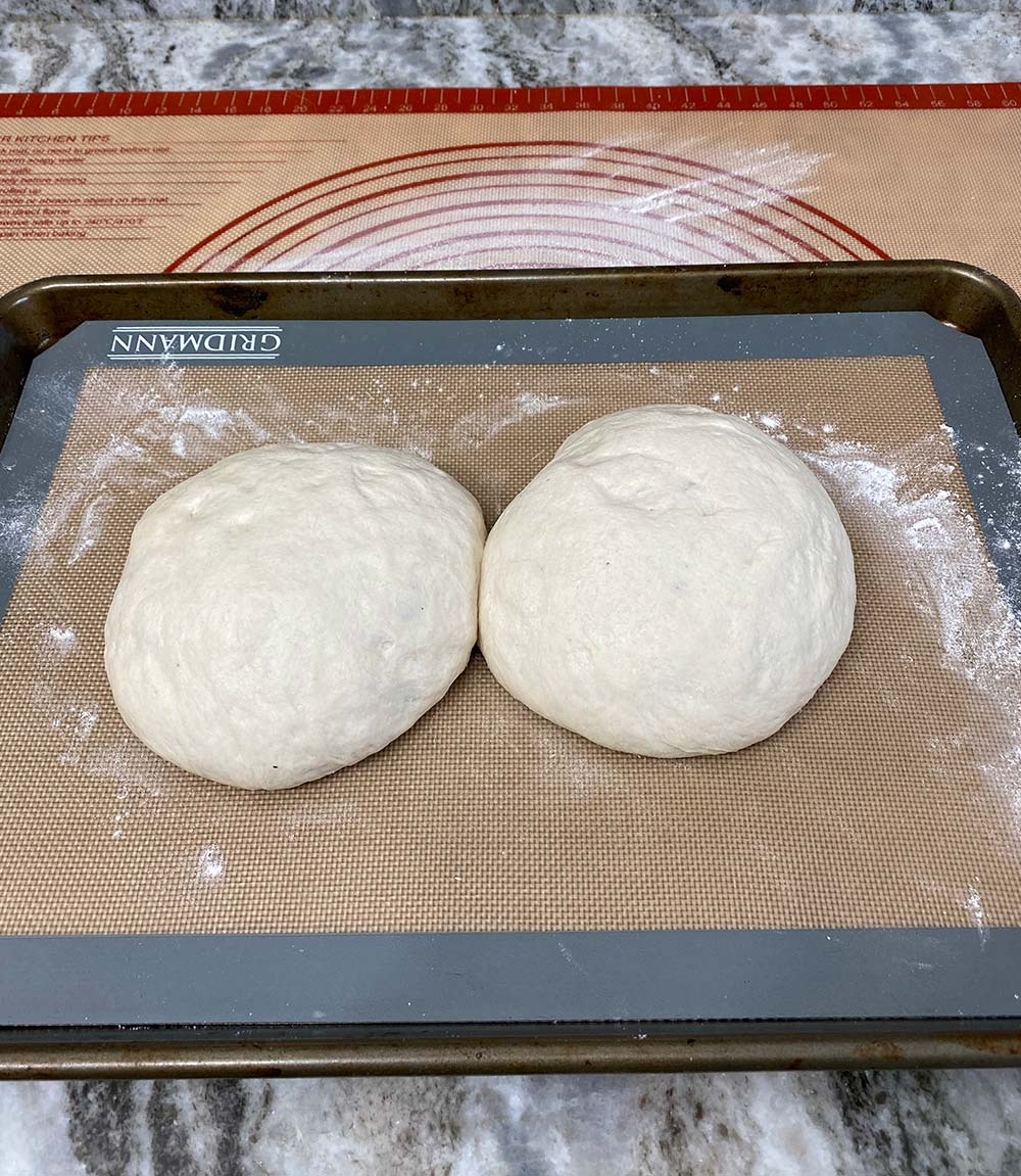 Pizza dough proofed