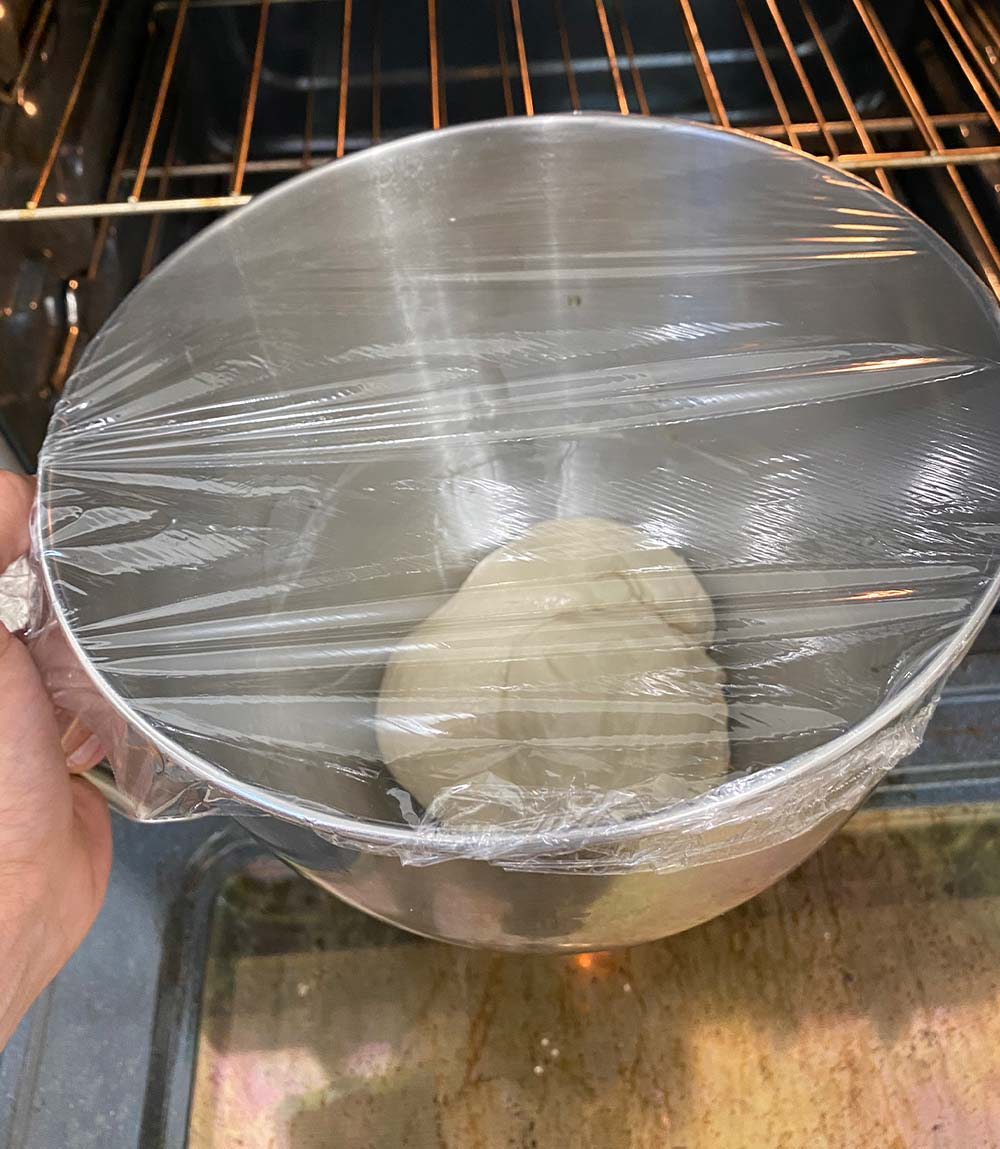 Pizza dough before sitting
