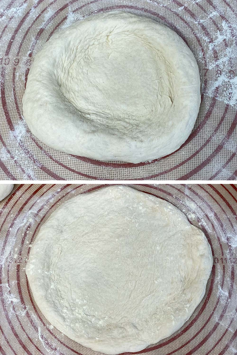 Before and after stretching pizza