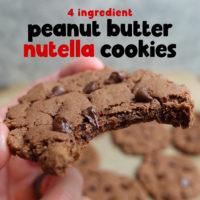 4 Ingredient Peanut Butter Nutella Cookies