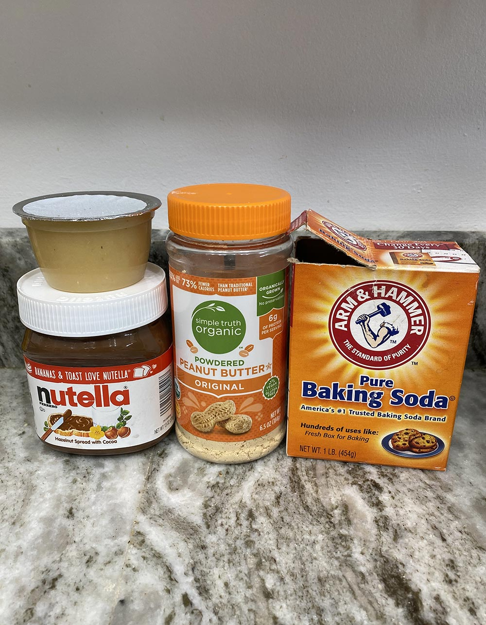 Ingredients needed for peanut butter nutella cookies