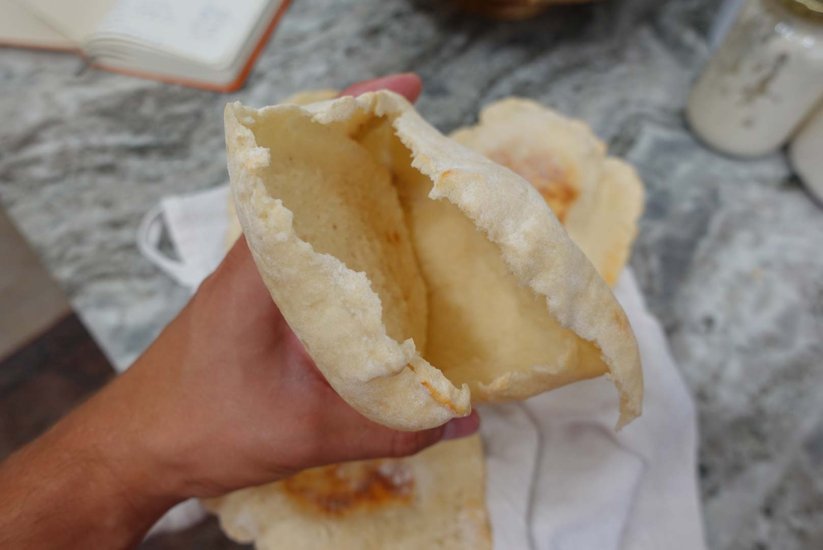 Pita pocket with no yeast