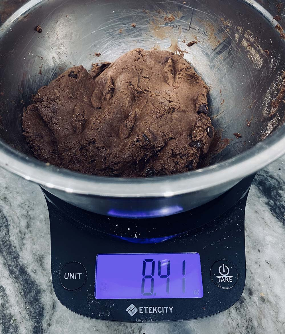 Weight of chocolate protein cookie dough