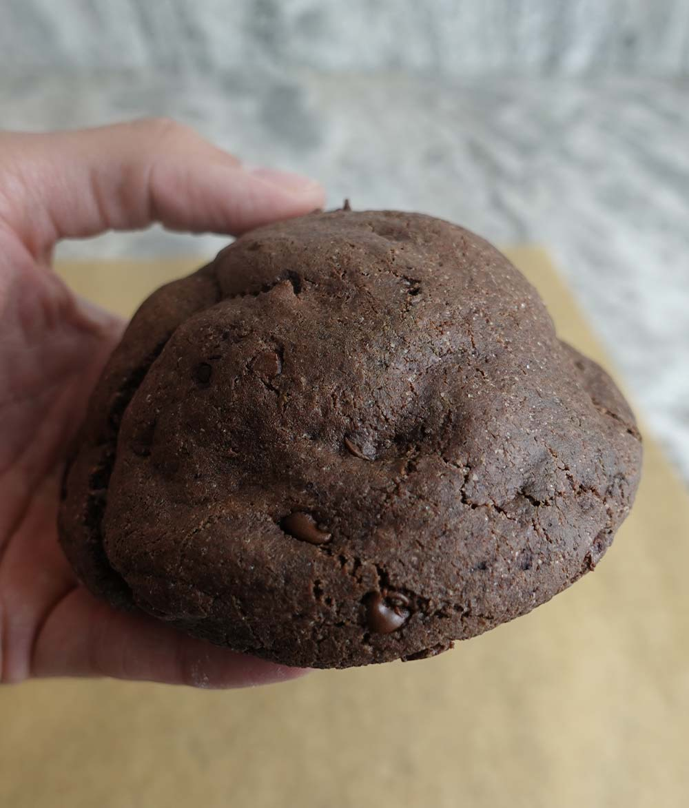 Holding chocolate protein cookie