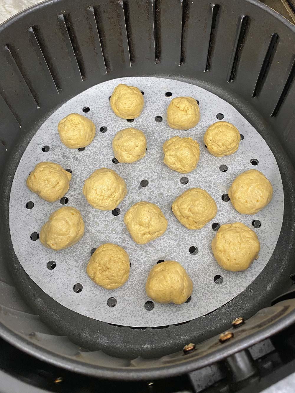 Pumpkin donut holes before baking